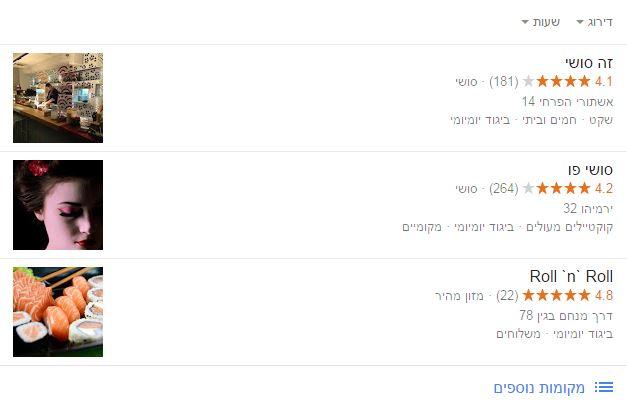 ביקורות גולשים בפרופילי גוגל